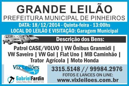 LEILÃO PINHEIROS 11,13,17-12-2014